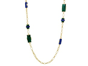 Green And Blue Resin White Crystal Gold Tone Matte Necklace