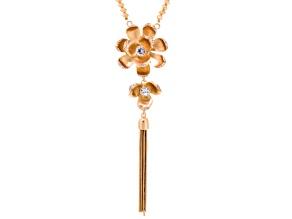 White Crystal Gold Tone Matte Flower Tassel Necklace
