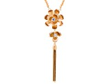 White Crystal Gold Tone Matte Flower Tassel Necklace