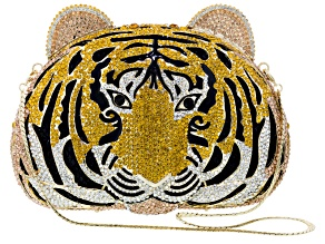 Multicolor Crystal Gold Tone Tiger Clutch With Chain