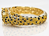 White And Yellow Crystals Black Enamel Gold Tone Jaguar Bangle.