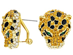 Multicolor Crystal Black Enamel Gold Tone Jaguar Earrings