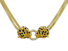 Multicolor Crystal Black Enamel Gold Tone Jaguar Necklace