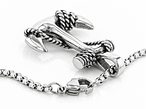 "Oxidized Silver Tone Men's Anchor And Rope Detail Pendant With 24"" Chain"