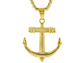 "Gold Tone Mens Anchor Pendant With 27.5"" Chain"