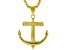 """Gold Tone Mens Anchor Pendant With 27.5"""" Chain"""