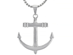 "Silver Tone Mens Anchor Pendant With 27.5"" Chain"