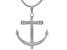 """Silver Tone Mens Anchor Pendant With 27.5"""" Chain"""