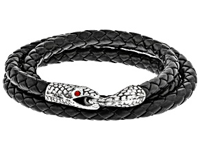 Red Crystal Leather and Silver Tone Mens Coiled Snake Bracelet