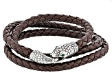 Green Crystal, Silver Tone And Brown Leather Mens Coiled Snake Bracelet