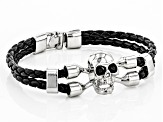 Black Crystal Silver Tone And Leather Mens Skull Bracelet