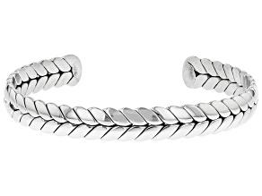 Silver Tone Herringbone Cuff Bracelet