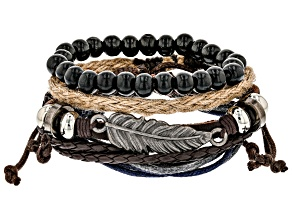 Silver Tone, Leather, Wood, And Twine Mens Feather Bracelet Set