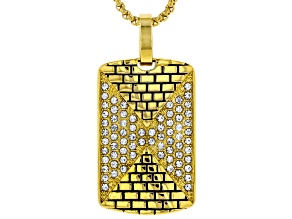 "Round White Crystal Gold Tone Mens Dog Tag Pendant With 24"" Chain"