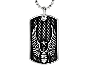 Oxidized Silver Tone Winged Grenade Dog Tag Pendant With 24