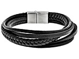 Leather And Silver Tone Multi-Row Mens Bracelet