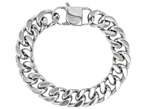 Silver Tone Mens Curb Link Chain Bracelet