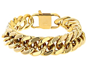 Gold Tone Mens Curb Link Chain Bracelet