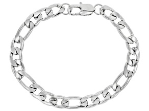 Silver Tone Curb And Oval Link Mens Chain Bracelet