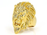 Gold Tone Mens Lion Ring