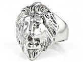 Silver Tone Mens Lion Ring