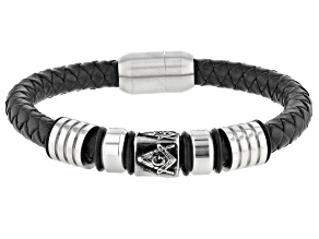 Silver Tone And Leather Mens Mason's Bracelet