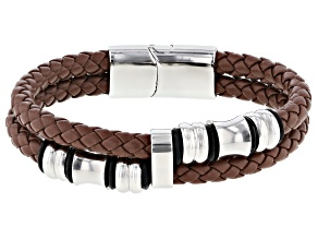 Brown Leather And Silver Tone Asymmetrical Banded Mens Bracelet
