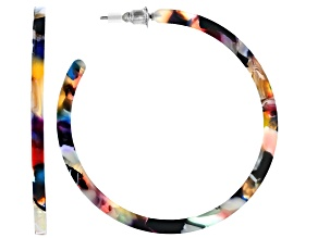 Multi Color Resin Silver Tone Hoop Earrings