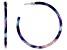 Blue Resin Silver Tone Hoop Earrings