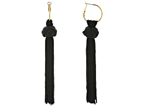 Black Fabric Gold Tone Knotted Tassel Earrings