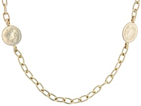 "Gold Tone Matte Finish Medallion Station 33"" Necklace"