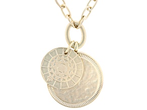 Gold Tone Matte Finish Medallion Drop Necklace