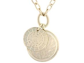 Gold Tone Matte Finish Medallion Drop Necklace