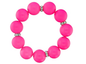 Hot Pink Bead Silver Tone Girls Bracelet