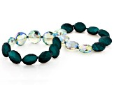 Emerald Green Bead Stretch Bracelet Set of Two