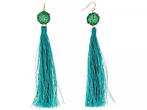 Gold Tone Green Tassel Earrings