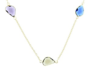 Multi-Color Crystal Gold Tone Station Necklace
