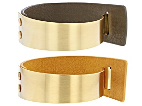 Gold Tone And Imitation Leather Bracelet Set Of Two