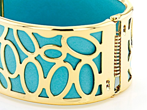 Baby Blue Imitation Leather And Gold Tone Overlay Cuff Bracelet