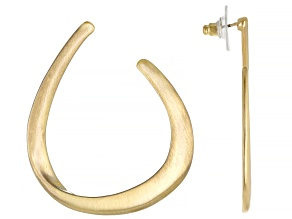 Satin Finish Gold Tone Hoop Earrings