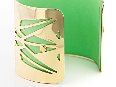 Green Imitation Leather And Gold Tone Overlay Cuff Bracelet