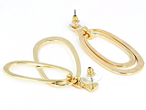 Hammered Gold Tone Graduated Hoop Earrings