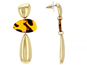 Tortoise Shell Pattern Resin Gold Tone Drop Earrings