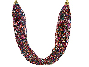 Gold Tone And Multicolor Bead Multi-Row Necklace