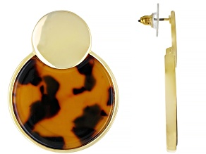 Tortoise Shell Pattern Resin Gold Tone Earrings