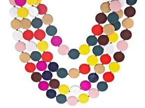 Multicolor Wooden Bead Gold Tone Graduated Multi-Row Necklace