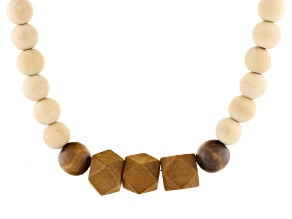 Wooden Bead Gold Tone Graduated Necklace