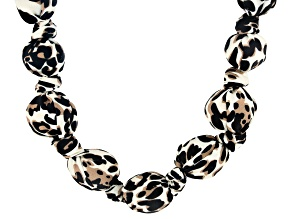 Leopard Print Fabric Gold Tone Graduated Necklace