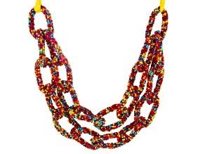 Multicolor Bead And Yellow Thread Double Row Link Necklace