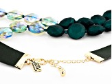 Green Bead Gold Tone And Imitation Leather Asymmetrical Double Strand Necklace